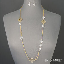 Gold Chain Silver Filigree Vintage Design Pendants Necklace With Earrings