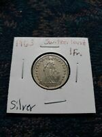 1963 SWITZERLAND SILVER 1 FRANCS COIN