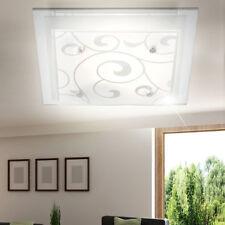 Klassische Deckenleuchte LED Küchen Lampe Gemustert Hausflur Glas Strahler  Chrom