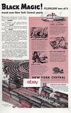 NEW YORK CENTRAL RAILROAD 1940 BLACK MAGIC! COAL TRAVELS ON NY CENTRAL WW2 AD