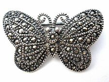 Vintage Sterling Silver Butterfly Marcasite Brooch 925 Sparkly Figural Pin