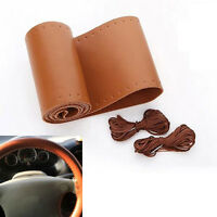 Auto Brown PU Leather DIY Car Steering Wheel Cover Shell With Needles and Thread