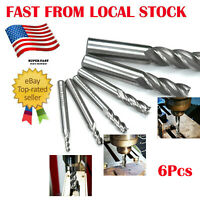 "6pc HSS End Mill Cutter Milling Cut Bit 1/8"" 3/16"" 1/4"" 5/16"" 5/8"" 1/2""  in US"