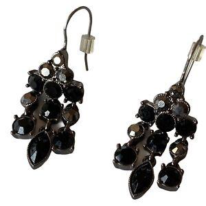 Black Gray Crystal Rhinestone Drop Chandelier Dangle Earrings LC