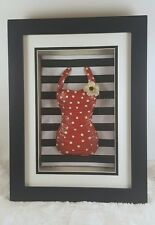 Shadow Box Vintage Red Bathing Suit White Polkadots Black and Red Home Decor