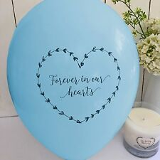 10 Blue 'Forever In Our Hearts' Funeral Remembrance Condolence Balloons