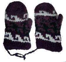 Winter GLITTEN - Purple Handmade Natural Pakistani Wool - Flip Glove Mitten A2
