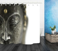 "72X72"" Buddha Statue Isolated on White Shower Curtain Waterproof Fabric Curtains"