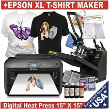 DIGITAL HEAT PRESS TRANSFER MACHINE PLUS EPSON XL T-SHIR PRINTER STARTERT KIT