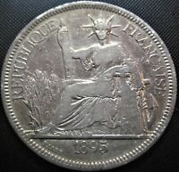 **SCARCE** 1895 A French Indochina Piastre km#5 - Silver Coin