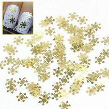 100pcs Nail Art Design Tips Decoration Metallic Gold Snowflake Decals Xmas