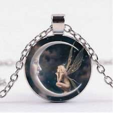 FAIRY MOON NIGHT STAR pendant Sterling Silver necklace FREE women mom $10 GIFT