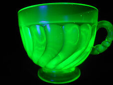 Green Vaseline glass swirl mug tumbler cup / goblet uranium yellow coffee punch
