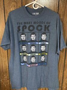Star Trek Spock moods T-shirt blue men's xxl 2xl