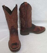 Men's Justin 5131 Antique Brown Smooth Ostrich Tekno Crepe Western Boots Sz 6.5B