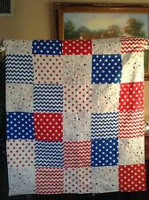 Handmade Red,White and Blue Patchwork,Lap, Throw ,Quilt