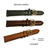 Men's Genuine Leather Padded Watch Strap With Stainless Steel Gilt Buckle A711