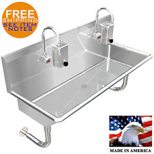 Hand Sink 2 Station 40 Industrial Hands Free 304 Stainless Steel Heavy Duty
