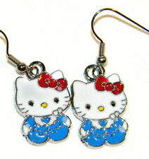 "#5778 Cute Baby ""HELLO KITTY"" Wearing Royal Blue & Red Bow Dangle Earrings"