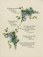 ANTIQUE BLUE STREWN FORGET ME NOTS FLOWERS BIBLICAL VERSES OLD COLOR PRINT