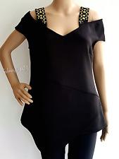Women's Black Cold Shoulder Short Sleeves Top Size L by Bisou Bisou Retail $60