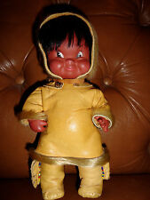 Vintage Eskimo Inuit Native Alaskan Canadian Doll Seal Fur Leather Clothing 10""