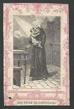 Holy card grabado antique de San Felix de Cantalicio santino image pieuse
