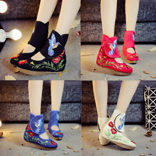Womens Casual Chinese Embroidered Floral Cloth Boots Dance Folk Flat Shoes Soft