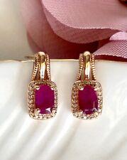 Genuine Ruby & Diamond Solid 10k Rose Gold Stud Earrings, New
