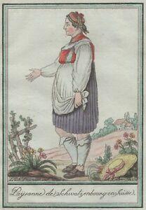 Svizzera Costume Contadina Wahlern Schwarzenburg stampa Grasset Di San Sauveur