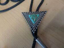 Western Bolo Tie Cord & Metal Tips silver color w/ tourquoise stone