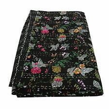 Indian Handmade Bird of Paradise Bohemain Beddding Bedspread Kantha Throw Quilt