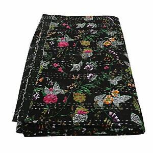 Queen Handmade Bird of Paradise Bohemain Beddding Bedspread Kantha Throw Quilt