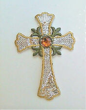 Cross Metallic Embroidered W/Accent Iron On Applique Patch - A