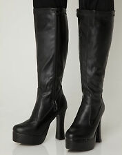 Black Gogo Boots Womens Retro Knee High Platform Boots - Size 9 UK