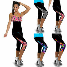 Women Capri Yoga Sport Fitness Pants Gym Stretch High Waist Trousers Plus Size