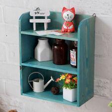 Wall Mount Cube Shelving Unit Wooden Wooden Shelves 3 Tier Organiser Blue Rack