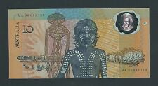 1988   AUSTRALIA TEN DOLLAR NOTE  - JOHNSTON/ FRASER - AA00  1ST PREFIX - UNC