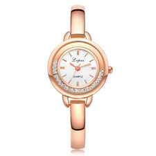 Rose Gold Plated White Dial With CZ Case Bangle Quartz Women Watch