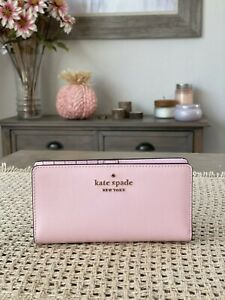 Kate Spade New York Staci Colorblock Large Slim Bifold Wallet Light Crepe / Gold