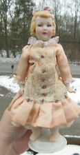 """VINTAGE MARIE BERGER PORCELAIN/CLOTH REPRODUCTION FRENCH DOLL 7 1/4"""" w stand"""
