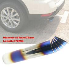 76mm-67mm Car Muffler Exhaust Pipe Tip Half Bend Stainless Chrome Baking Blue
