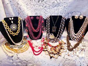 20 Piece Vintage/Modern Warm Tones Mixed Beaded Necklace Lot - Sarah Cov.