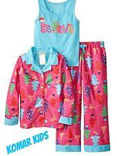 "NWT Komar Kids 3 Piece ""Believe"" Christmas Girls Pajamas PJS Sleepware Sz XS 4/5"