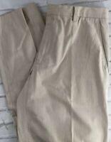 Banana Republic Men's Flat Front Dress Casual Pants Off White Brown 34 X 33 P2
