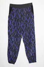FATE Designer Black Blue Print Silky Maddy Pants Size 10 BNWT #SY90