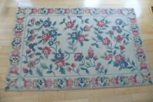 "Chinese Hand Hooked Rug Shanghai Hooked Rugs 47"" x 6 ft floral flowers leaves"