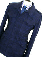 BNWT MENS RICHARD JAMES SAVILE ROW BLUE BLACK SAFARI OVERCOAT JACKET COAT 40R