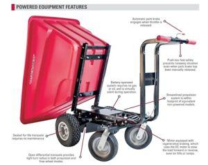"""Motorized 1 yard Hopper Cart 13"""" Pneumatic Wheels Dual Handle Bars 750 lb. cap"""