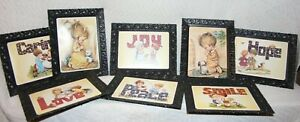 """Lot of 8 Matching Fruit of the Spirit Children """"ilsa"""" 8 x 10 Pictures In Frames"""